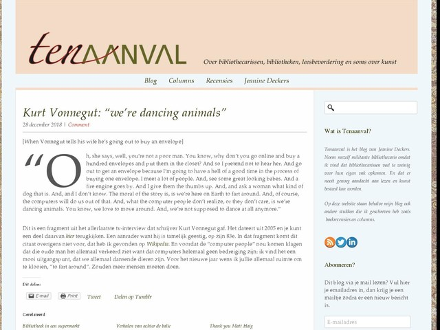 "Kurt Vonnegut: ""we're dancing animals"""