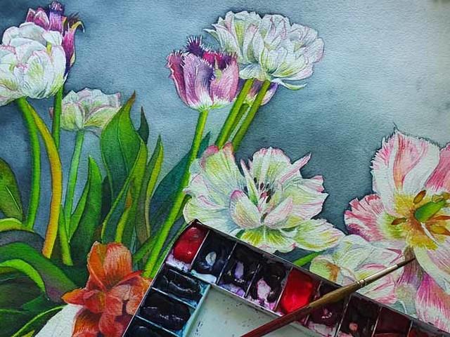Ein wunderschöner Tulpenstrauß als Motiv für ein Aquarell