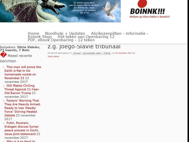Aan elke munt zitten twee kanten, zo ook aan elk gebeuren en dus ook aan het z.g. Joego-Slavië tribunaal