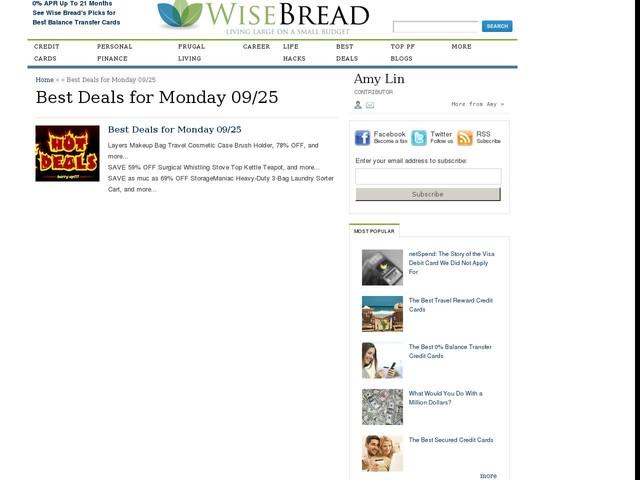 Best Deals for Monday 09/25