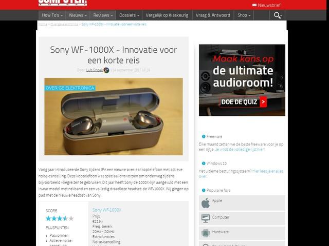 Sony WF-1000X - Innovatie voor een korte reis