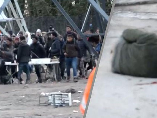 Beelden rellende asielzoekers in Calais