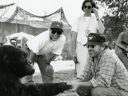 "Photo of the day - Steven Spielberg visits Kathleen Kennedy, Frank Marshall and ""Amy"" on the set of Congo"