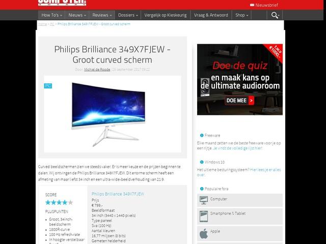 Philips Brilliance 349X7FJEW - Groot curved scherm
