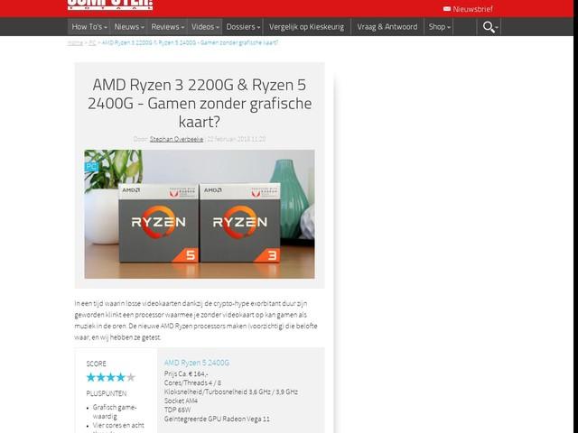 AMD Ryzen 3 2200G & Ryzen 5 2400G - Gamen zonder grafische kaart?