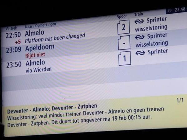 Wisselstoring verstoort treinverkeer rondom Deventer