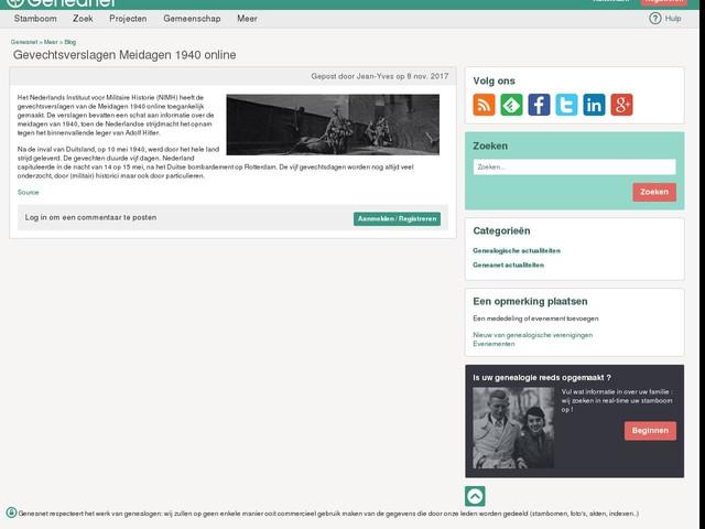 Gevechtsverslagen Meidagen 1940 online