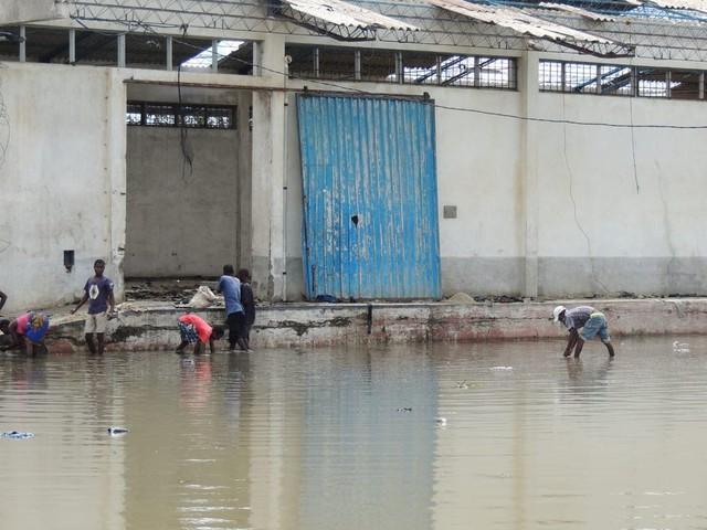 De bewoners van Beira zijn op zoek naar rijst in het regenwater