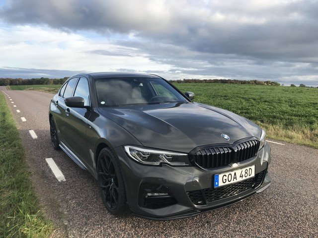 The new BMW 330e plug-in hybrid model photographed in a special combo