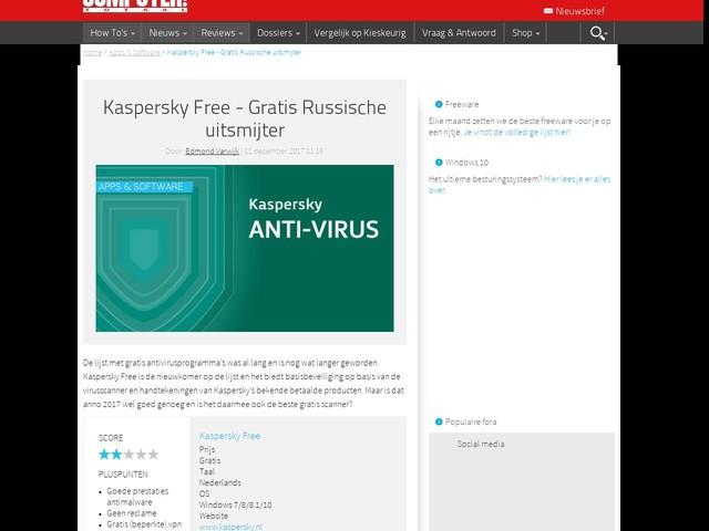 Kaspersky Free - Gratis Russische uitsmijter