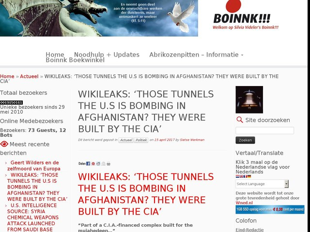 WIKILEAKS: 'THOSE TUNNELS THE U.S IS BOMBING IN AFGHANISTAN? THEY WERE BUILT BY THE CIA'