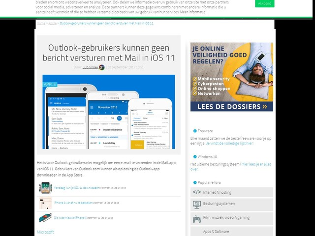 Outlook-gebruikers kunnen geen bericht versturen met Mail in iOS 11