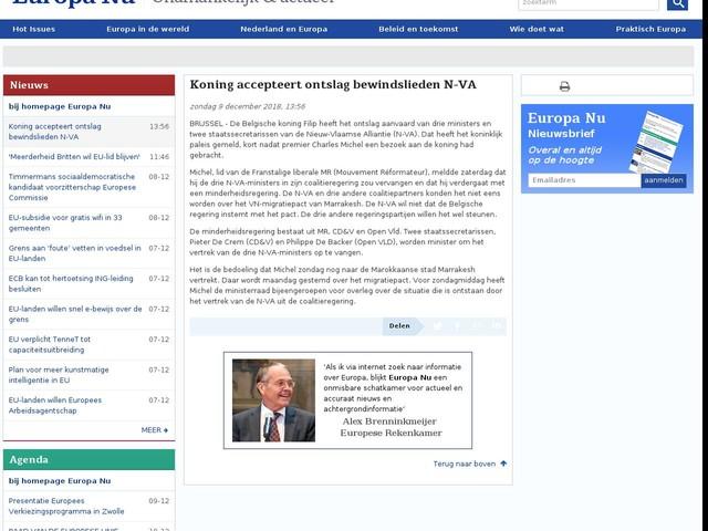 Koning accepteert ontslag bewindslieden N-VA