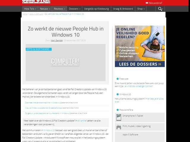Zo werkt de nieuwe People Hub in Windows 10