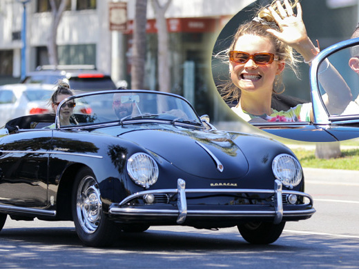 Adam Levine And Behati Prinsloo Go For A Joyride In His Vintage Porsche Convertible