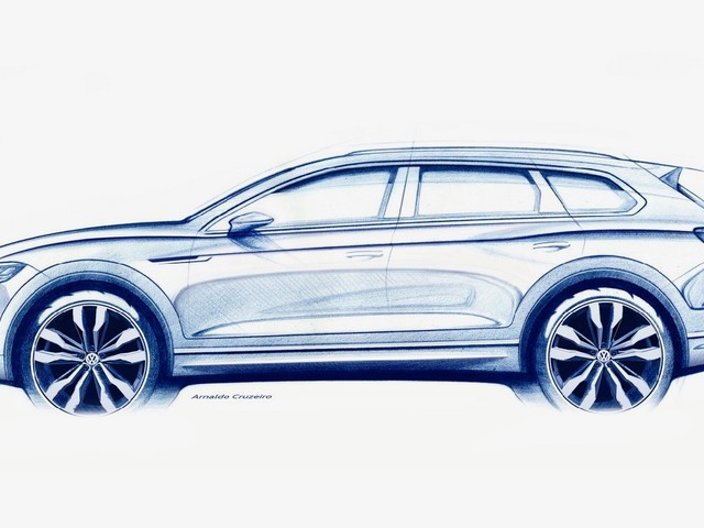 2019 VW Touareg teased ahead of its Beijing debut
