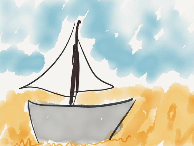 Een Schip op strand is een gewisse baak in Zee