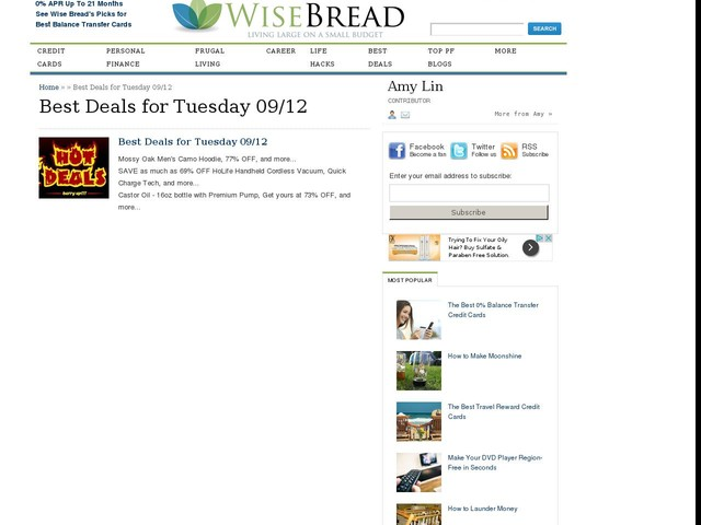 Best Deals for Tuesday 09/12