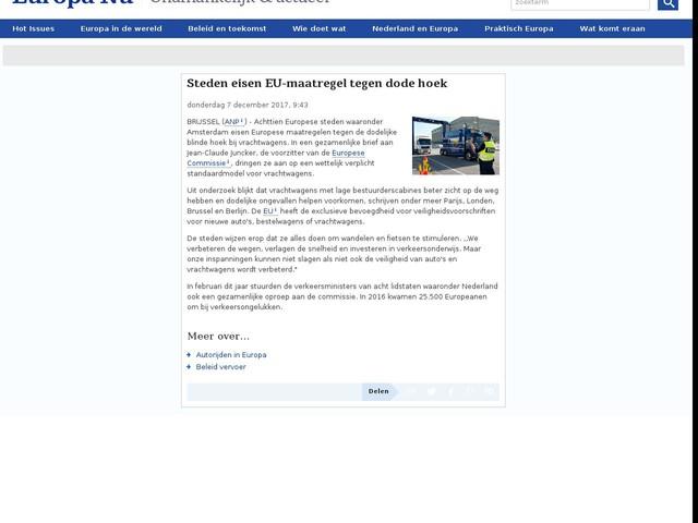 Steden eisen EU-maatregel tegen dode hoek