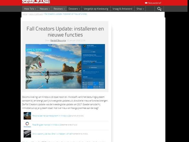 Fall Creators Update: installeren en nieuwe functies