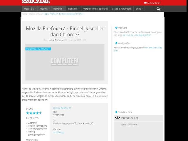 Mozilla Firefox 57 - Eindelijk sneller dan Chrome?