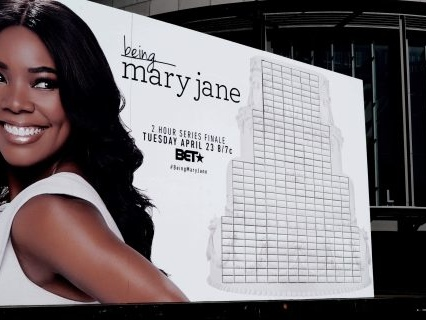 "BET Networks Celebrates The ""Being Mary Jane"" Series Finale With An Edible Wedding Cake Themed Billboard"