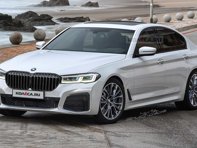 BMW 5 Series Facelift rendered with a larger kidney grille