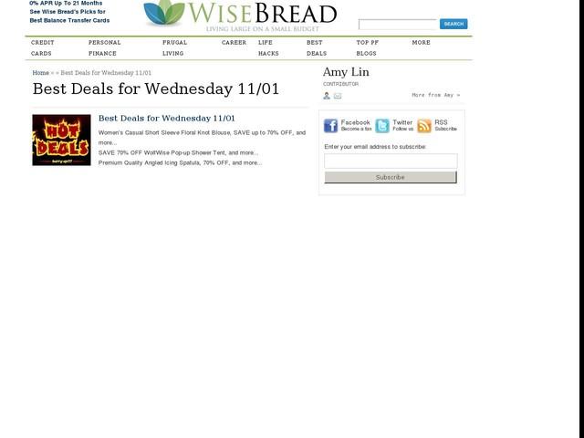 Best Deals for Wednesday 11/01