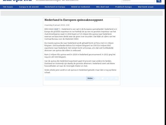 Nederland is Europees quinoaknooppunt