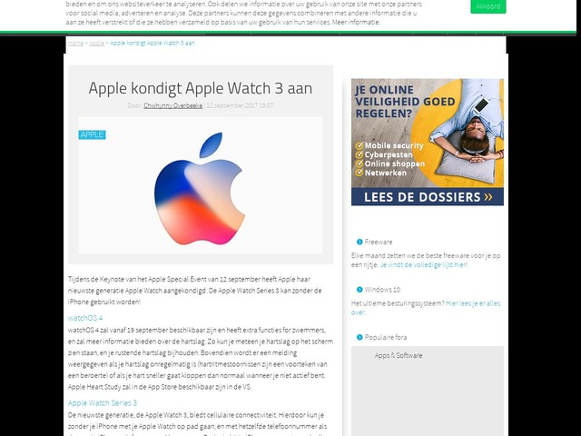 Apple kondigt Apple Watch 3 aan