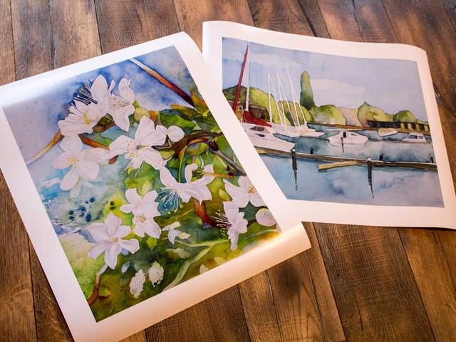 Aquarelle mit Blüten, Booten und Kraniche als Posterdruck