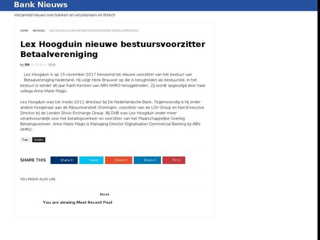 Lex Hoogduin nieuwe bestuursvoorzitter Betaalvereniging