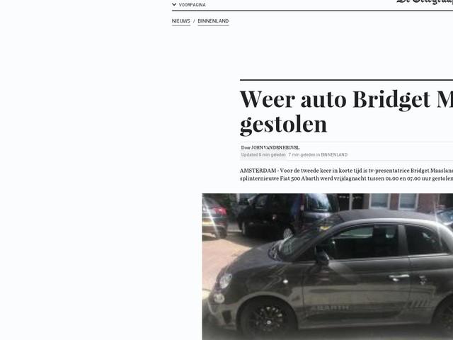 Weer auto Bridget Maasland gestolen