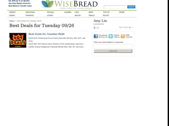 Best Deals for Tuesday 09/26