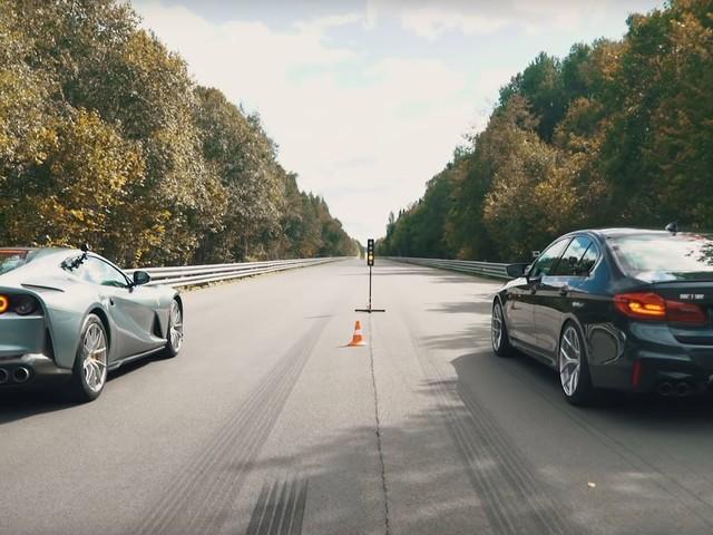 Video: F90 BMW M5 takes on Ferrari 812 Superfast on drag strip