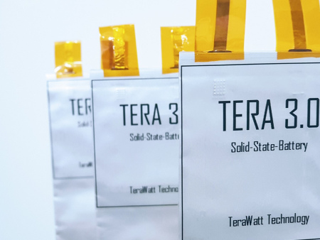TeraWatt Technology solid-state battery prototype tests showing 432 kWh/kg