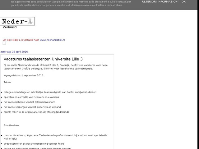 Vacatures taalasisstenten Université Lille 3