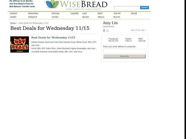 Best Deals for Wednesday 11/15