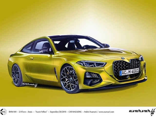 2020 BMW M4 gets rendered with a large kidney grille