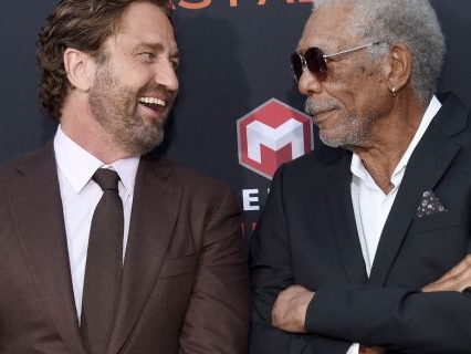 "Exclusive: ""Angel Has Fallen"" Star Gerard Butler Talks Roughing Up President Morgan Freeman & More!"