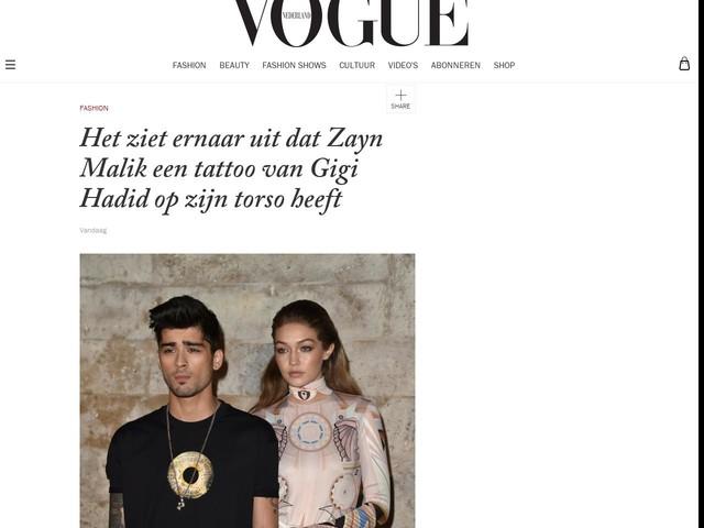 Het ziet ernaar uit dat Zayn Malik een tattoo van Gigi Hadid op zijn torso heeft
