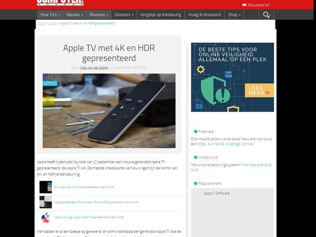 Apple TV met 4K en HDR gepresenteerd