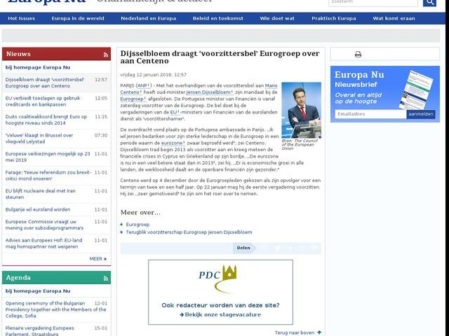 Dijsselbloem draagt 'voorzittersbel' Eurogroep over aan Centeno