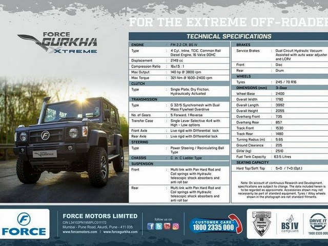 2018 Force Gurkha Xtreme Brochure Leaked, Specifications Revealed