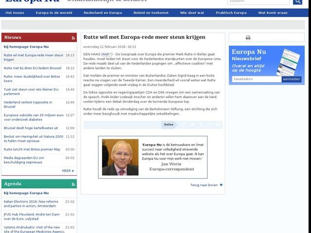 Rutte wil met Europa-rede meer steun krijgen