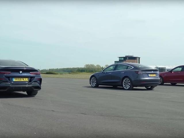 Video: BMW M850i Drag Races Tesla Model 3 and E63 AMG S
