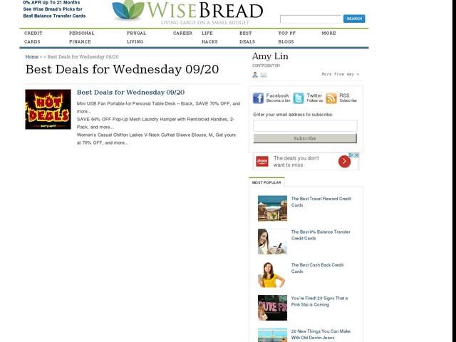 Best Deals for Wednesday 09/20