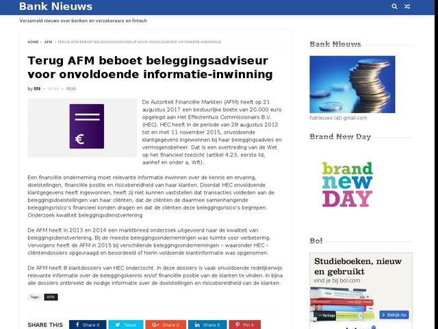 Terug AFM beboet beleggingsadviseur voor onvoldoende informatie-inwinning