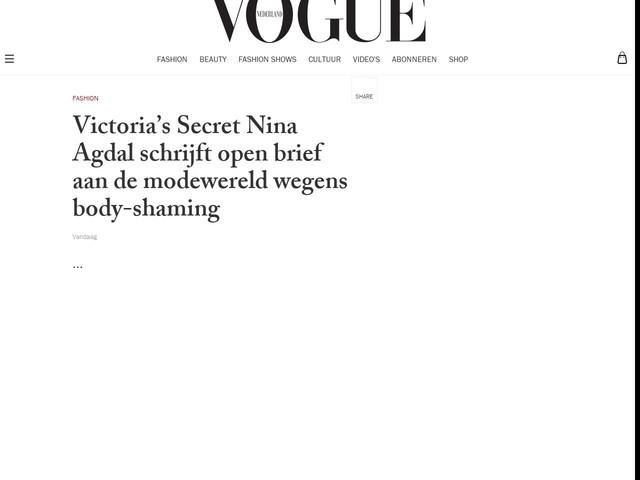 Victoria's Secret Nina Agdal schrijft open brief aan de modewereld wegens body-shaming