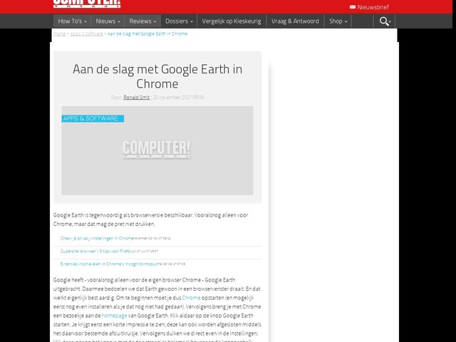 Aan de slag met Google Earth in Chrome